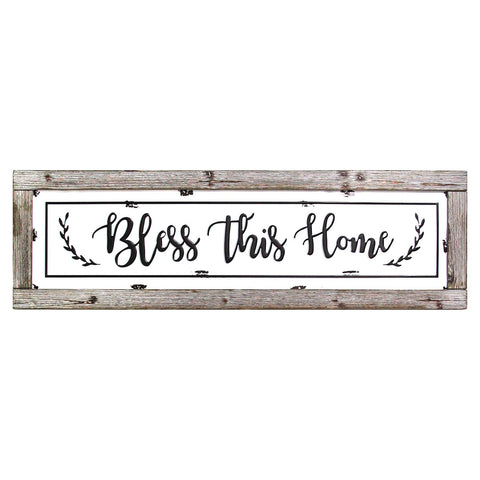 "35.63"" X 0.07"" X 10.83"" Bless This Home Framed Enamel Sign Wall Decor"