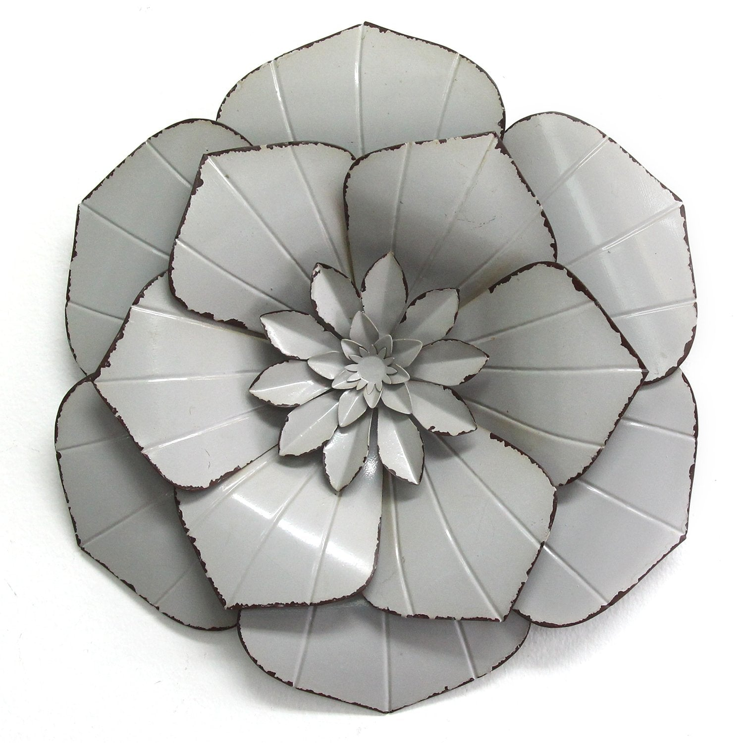 "10.75"" X 1.75"" X 11.75"" Gray Metal Flower Wall Decor"