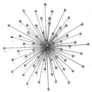 "27.98"" X 1.77"" X 27.98"" Silver Burst Wall Decor"
