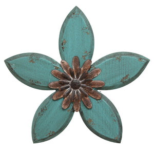 Teal on Red Antique Flower Wall Decor