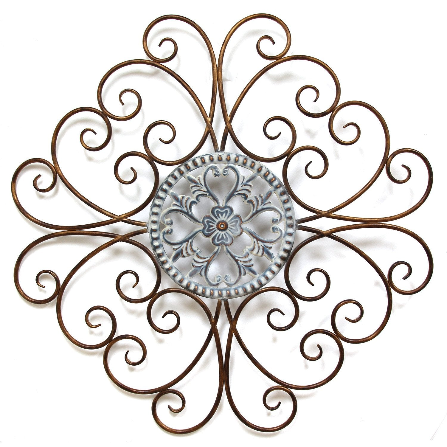 "28"" X 0.5"" X 28"" Bronze Scroll Medallion Wall Decor"