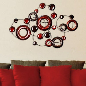 "32"" X 1.4"" X 22"" Red Metallic Circles Wall Decor"