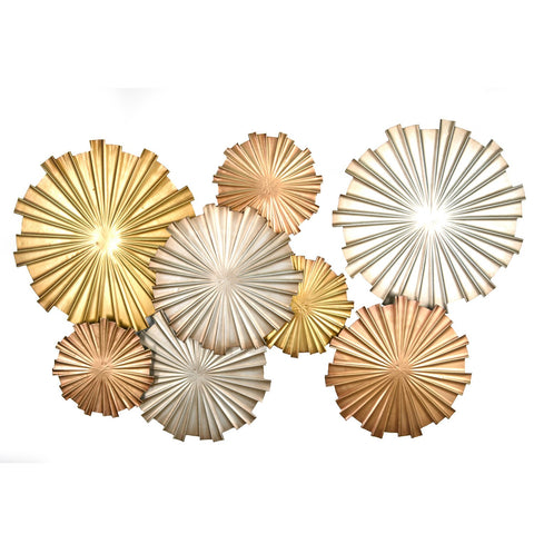 "32.28"" X 1.57"" X 19.88"" Multi-Metallic Circles Wall Decor"