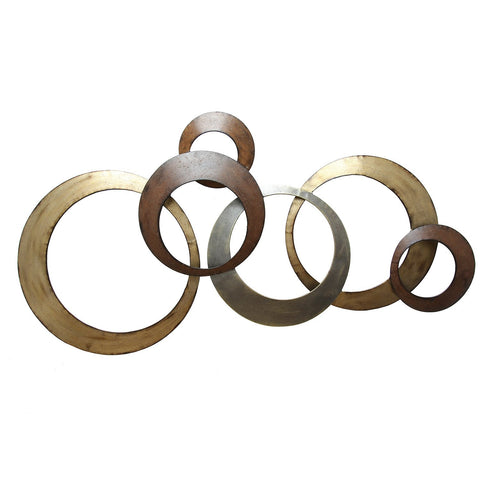 "37.99"" X 1.97"" X 18.7"" Metallic Rings Wall Decor"