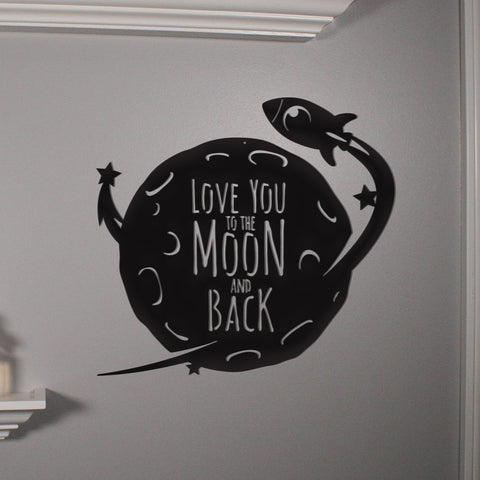 Love You To The Moon Wood Banner