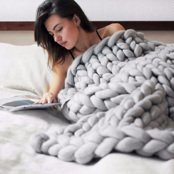 Thick Yarn Knitted Blanket