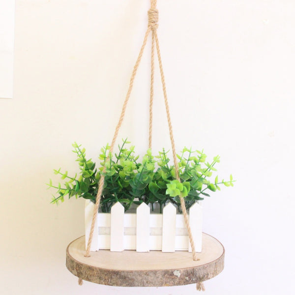 Wood Slab Hanging Shelf