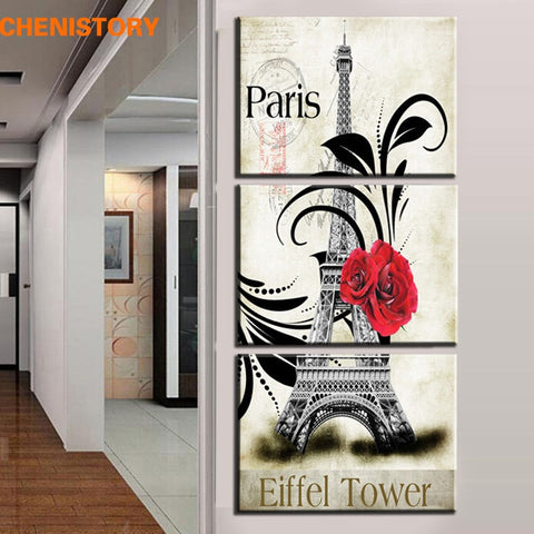 3 Panel Paris Eiffel Tower