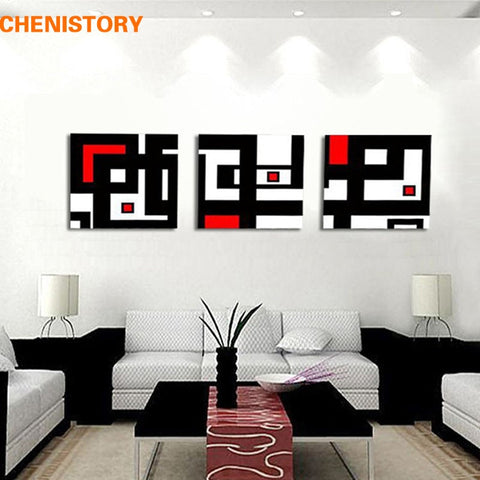 3 Panel Abstract Picture White Red And Black Geometric Figure