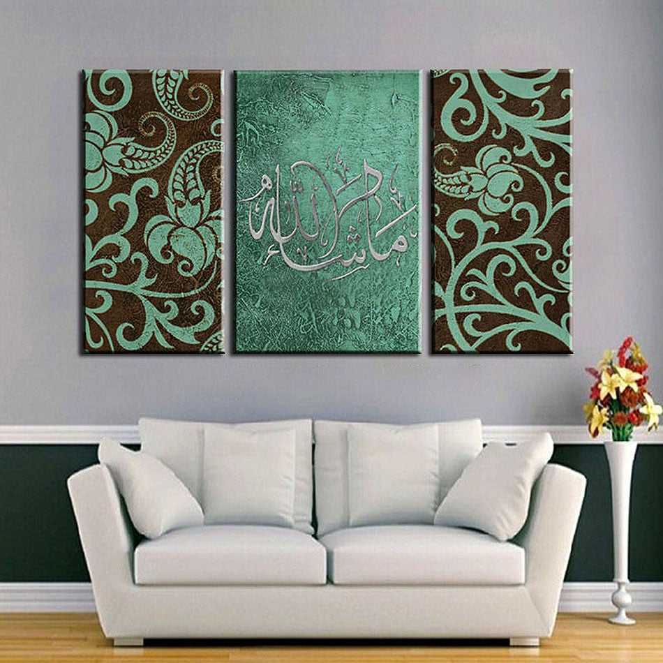 Teal Floral Motif 3-Panel Wall Art