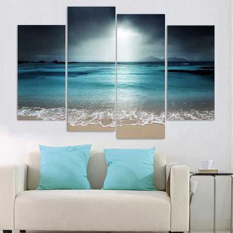 Ocean Sunrise 4-Panel Canvas Wall Art