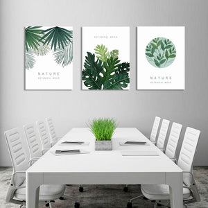 Modern Tropical Plants 3-Panel Wall Art