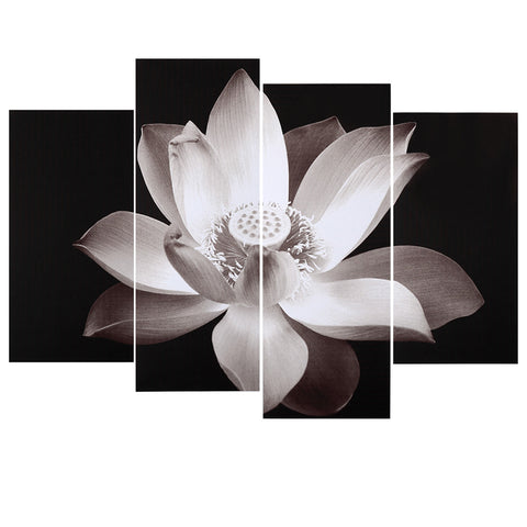 4-Panel Lotus Pattern Canvas Painting Modular Decor
