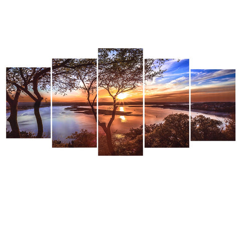 5-Panel Unframed Sunset Landscape Canvas Painting