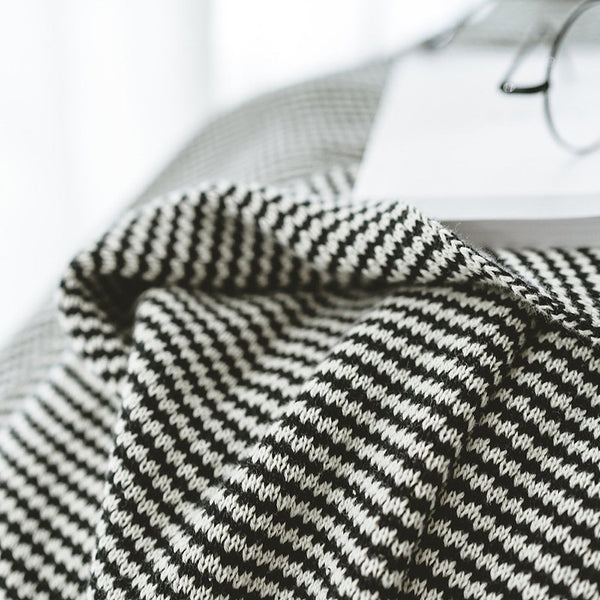 Plaid Knitted Tassel Blanket