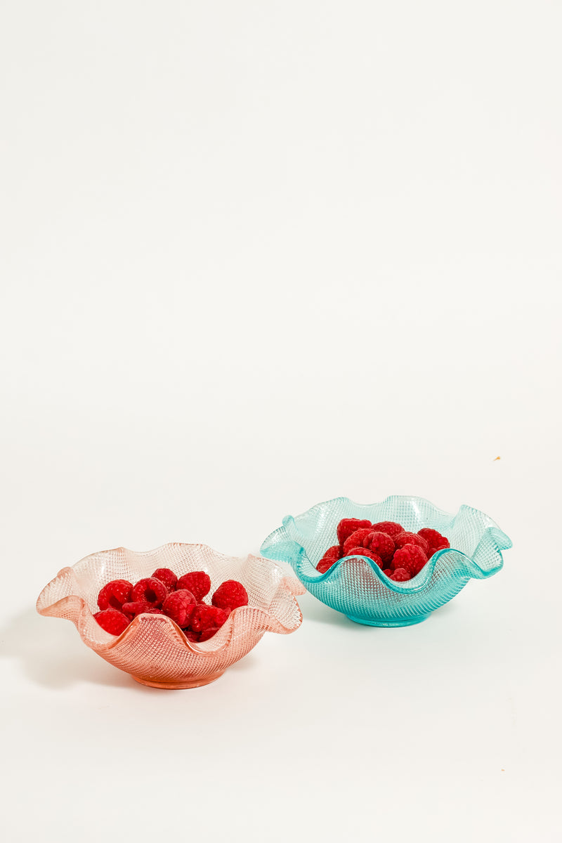 Sky Blue/ Tea Rose Pink Ruffle Bowls Set of Two