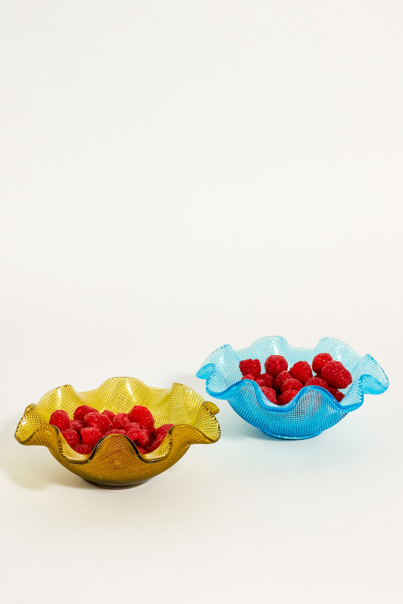 Olive Green /Azure Blue Ruffle Bowls Set of Two