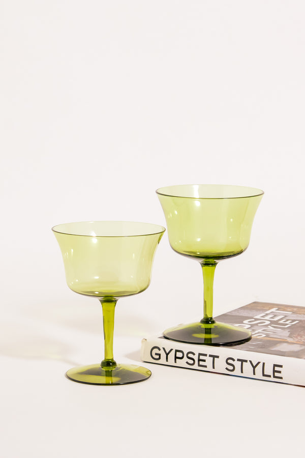 Olive Green Cocktail Glasses Set of Two