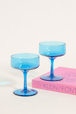 Aqua Blue Cocktail Glasses Set of Two