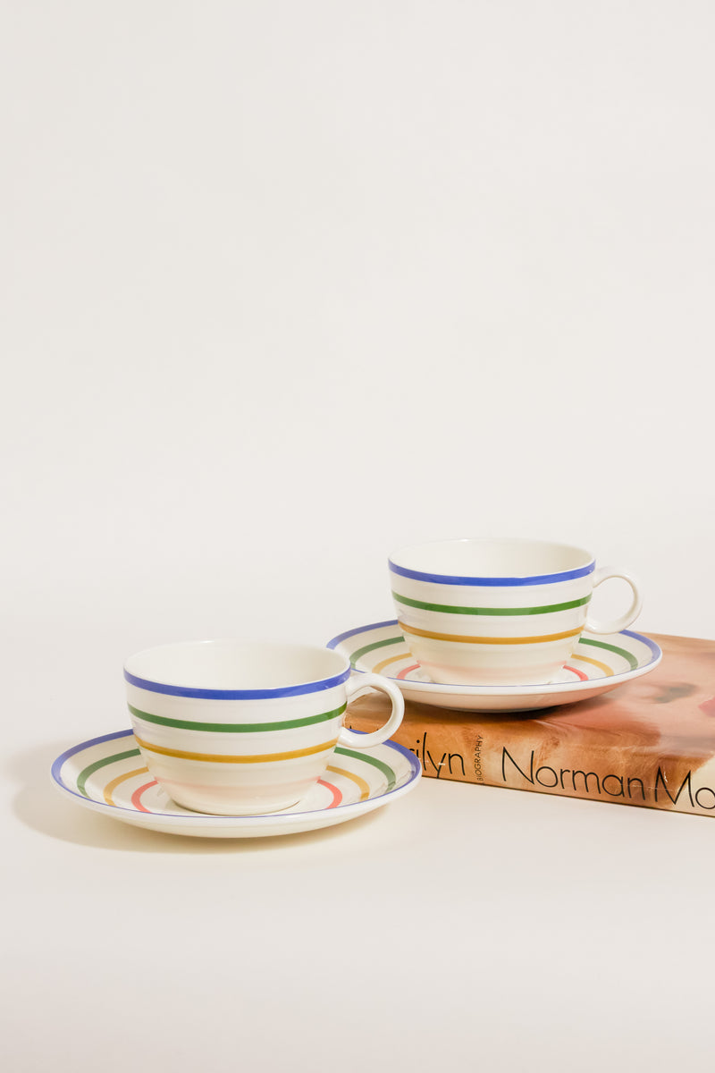 Rainbow Striped Cappuccino Set of Two