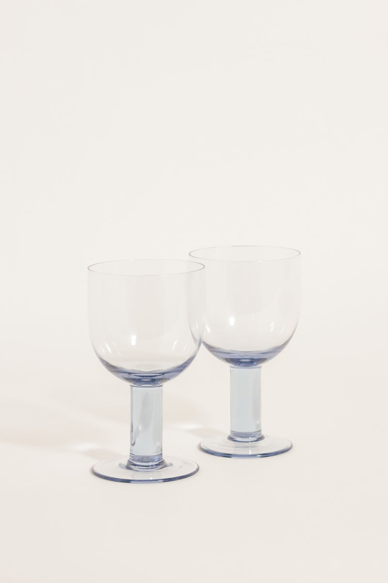 Chunky Blue Wine Goblets Set of Two