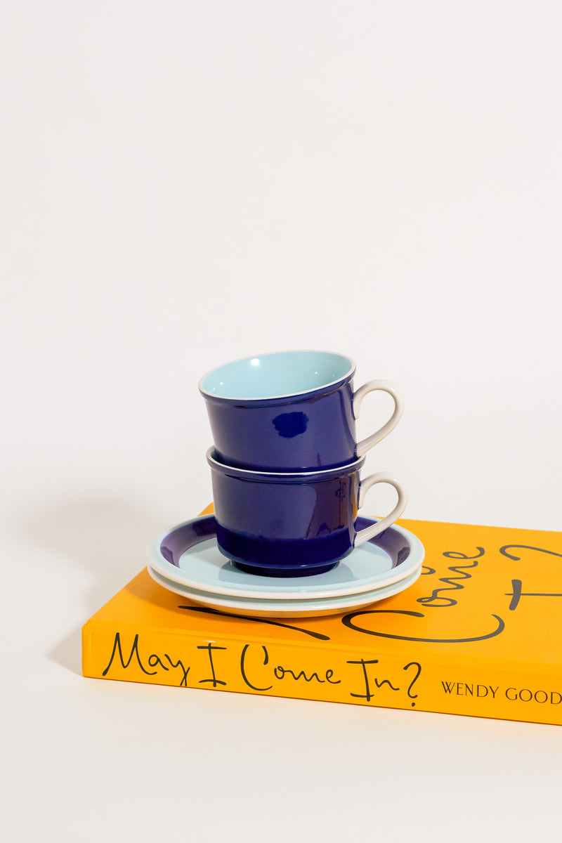Mid Century Navy and Pastel Blue Cappuccino Set of Two