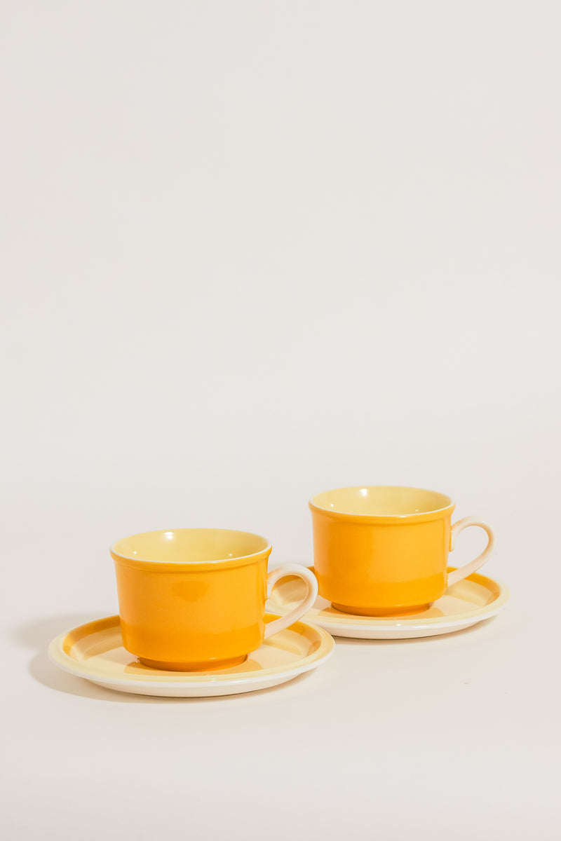 Mid Century Yellow Cappuccino Set of Two