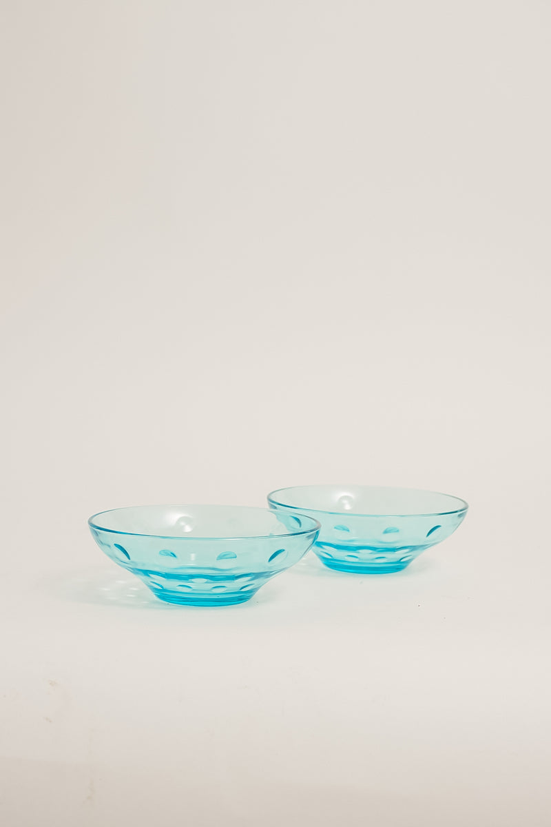 Aqua Dimple Glass Bowls