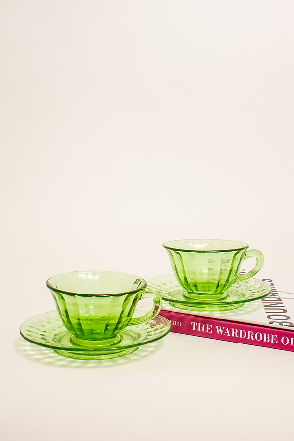 Faceted Green Glass Tea Set