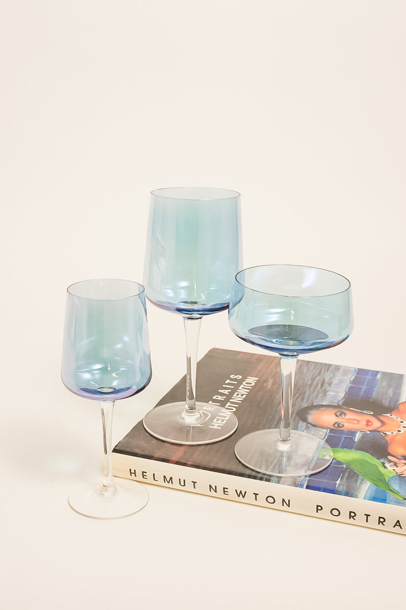 Light Blue Iridescent Cocktail Glasses