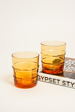 Italian Amber Ribbed Glasses