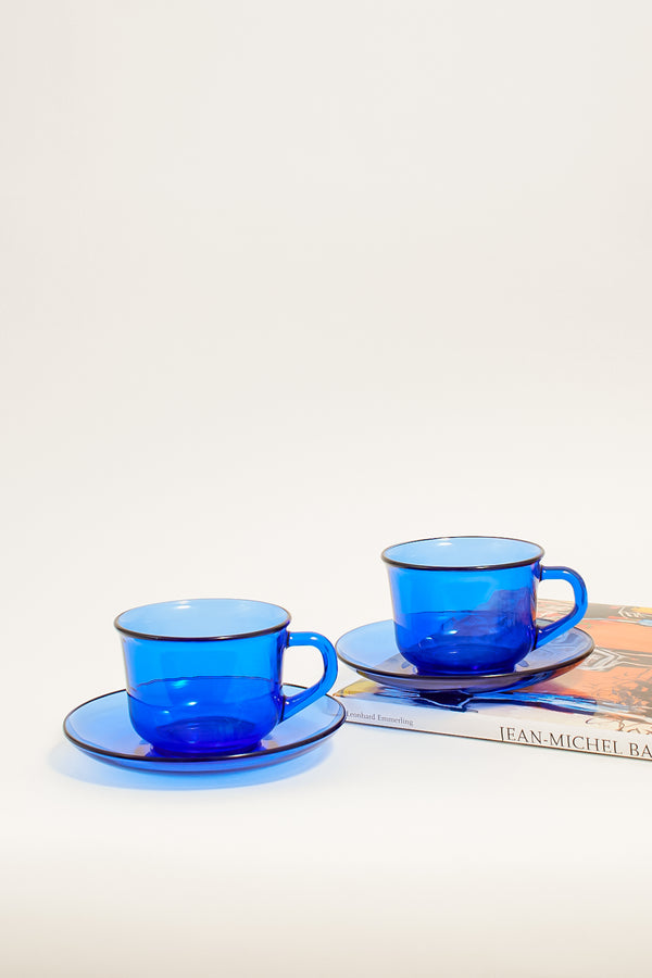 Azure Blue Glass Cup and Saucer Set