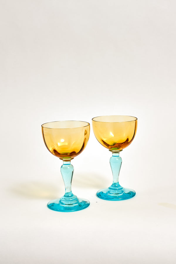 Portieux Vallerysthal Amber and Turquoise Aperitif Glasses