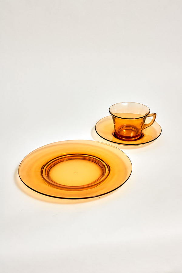 Amber Glass Plate Set