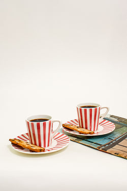 Candy Red Striped Demitasse Set
