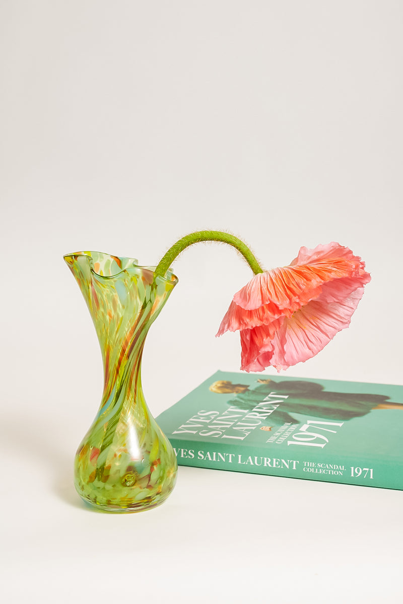Swirled Hand Blown Art Glass Vase