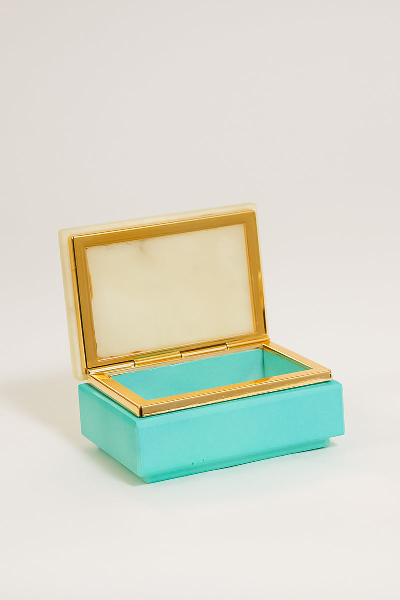 Italian Alabaster Polka Dot Jewelry Box