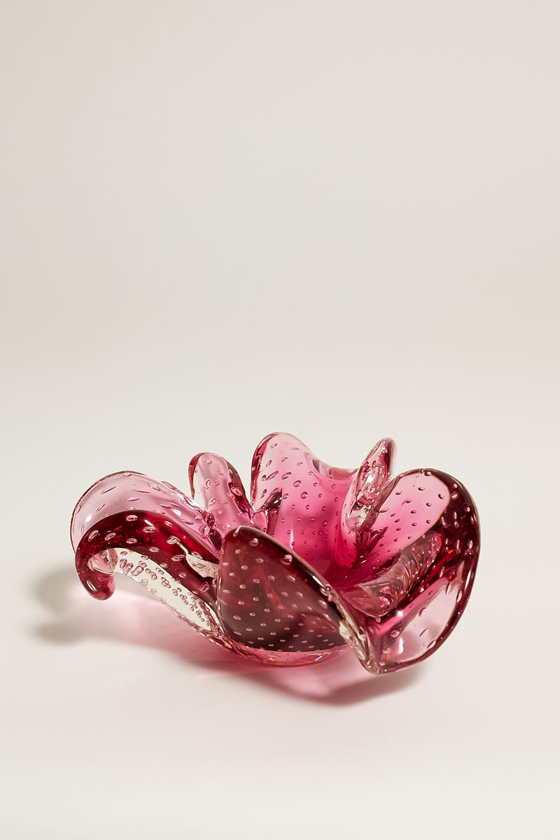 Pink Flower Shape Bubble Glass Catchall