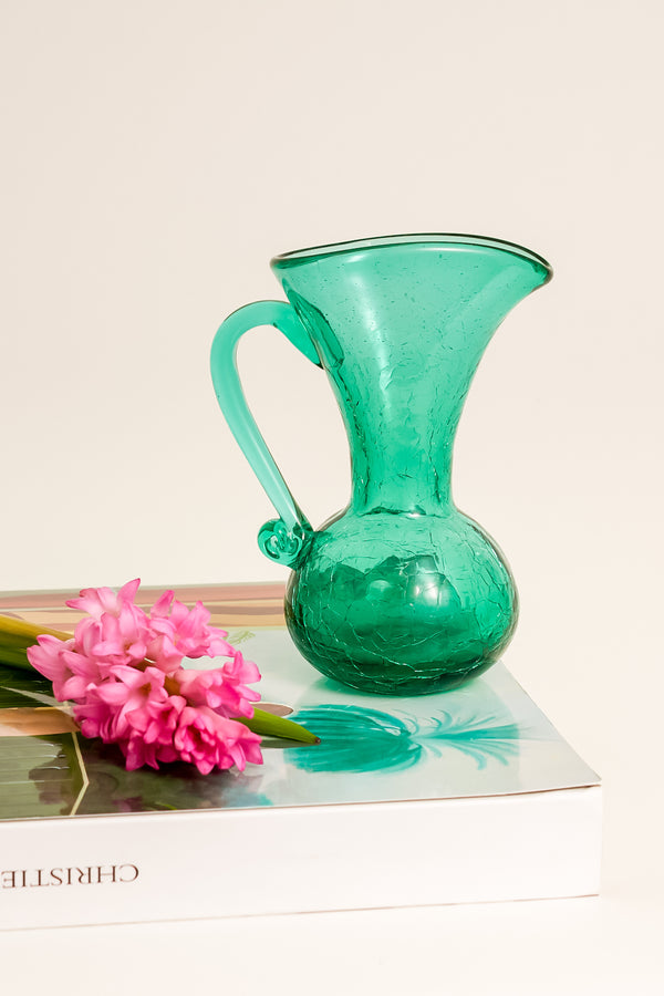 Emerald Crackle Glass Pitcher Vase