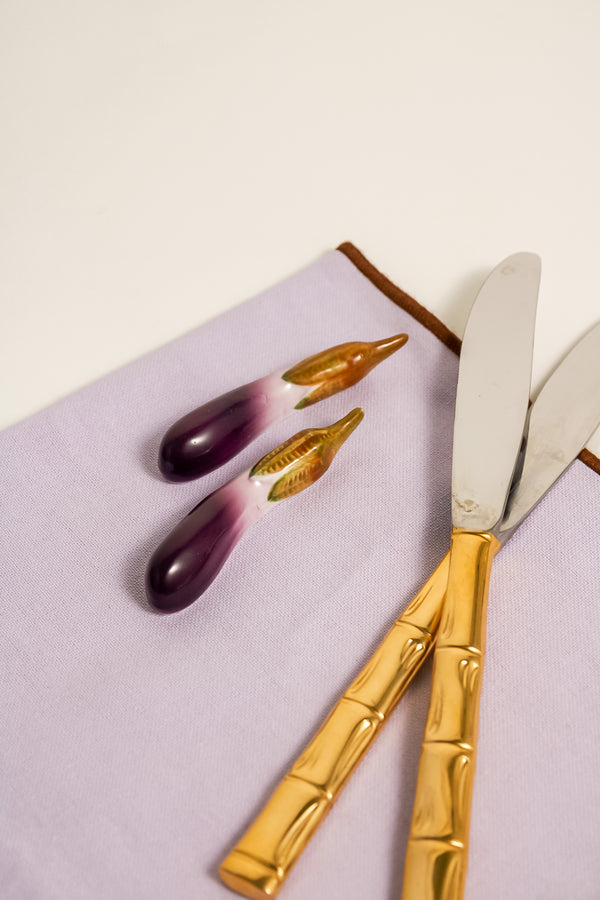 French Hand Painted Aubergine Knife Rests