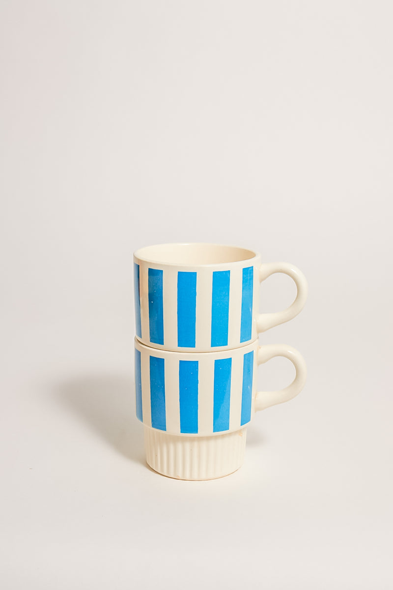 Mid Century Striped Stackable Mugs