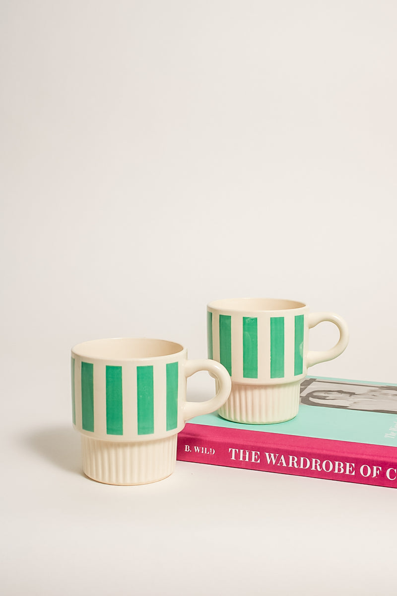 Mid Century Spearmint Striped Stackable Mugs