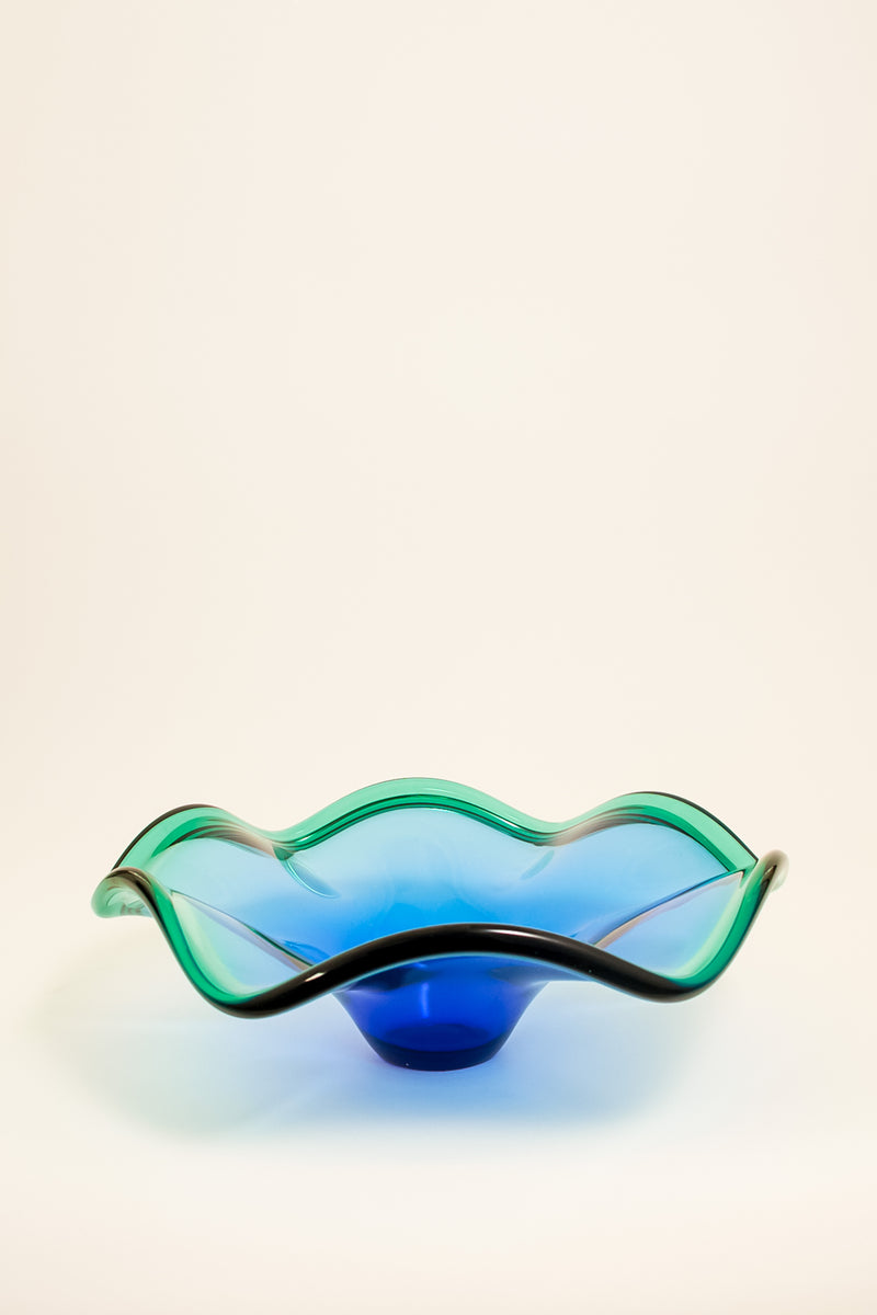 Azure Blue and Sea Green Ruffle Bowl