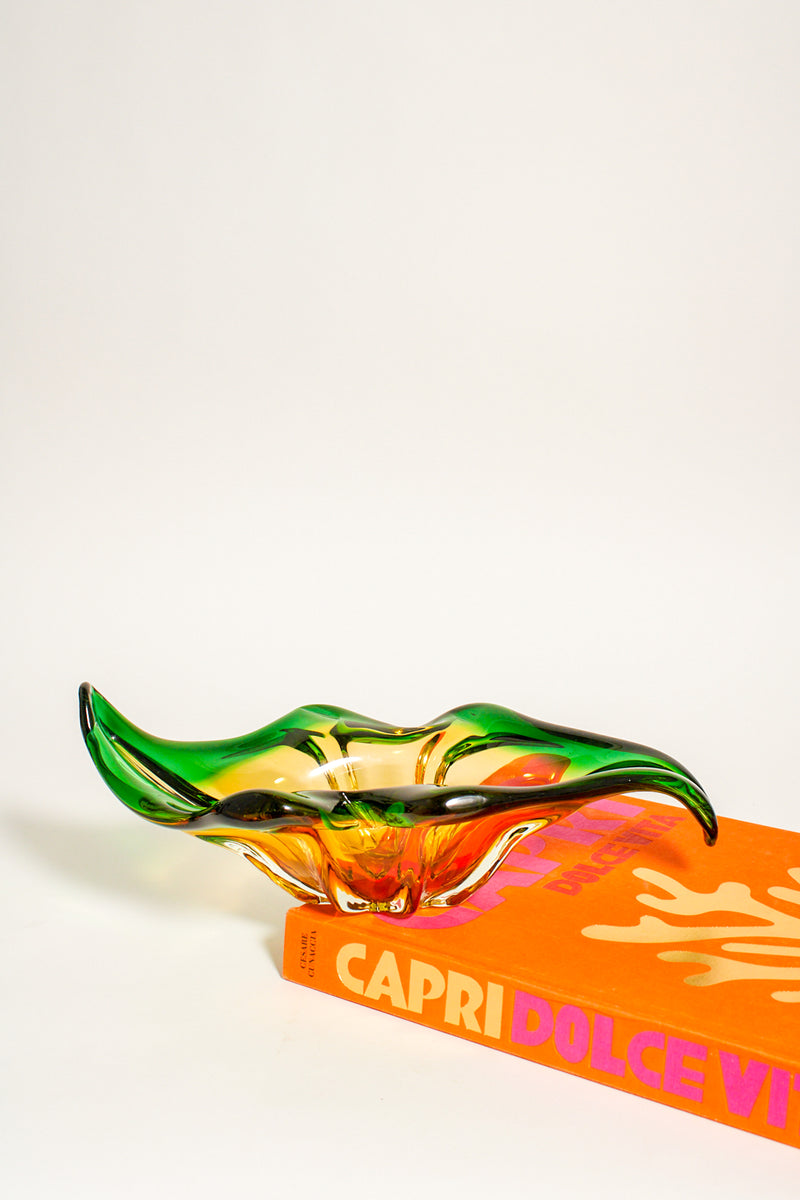 Murano Emerald and Amber Bowl