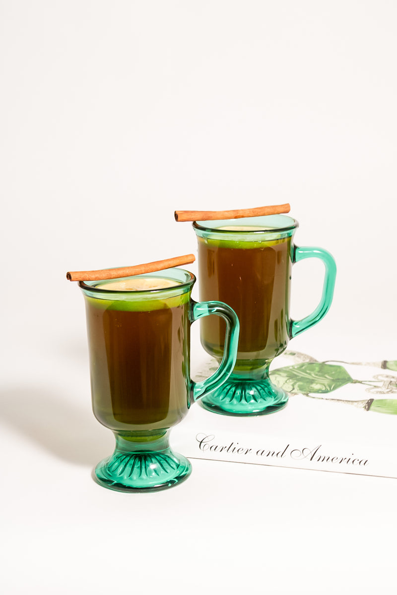 Emerald Glass Pedestal Mugs