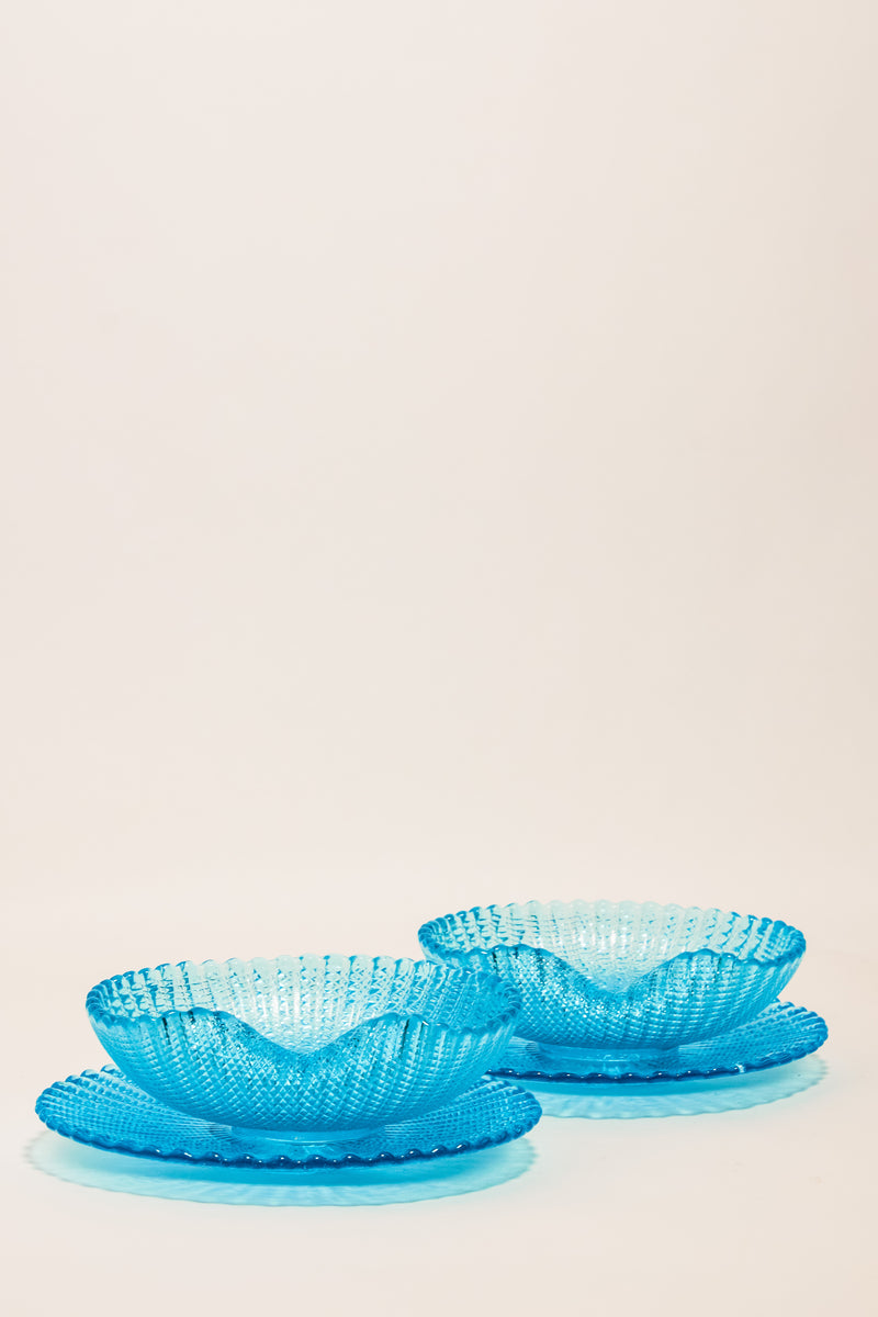 Italian Blue Glass Bowl and Saucer Set