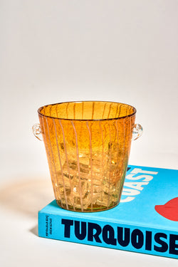 Italian Swirled Amber Glass Ice Bucket