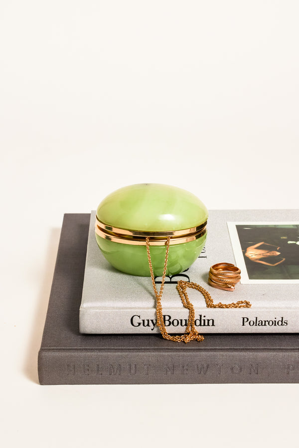 Egg Shaped Apple Green Alabaster Jewelry Pot