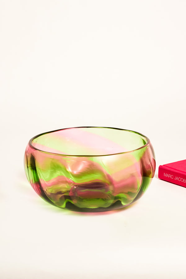 English 1930s Spiral Swirl Glass Bowl
