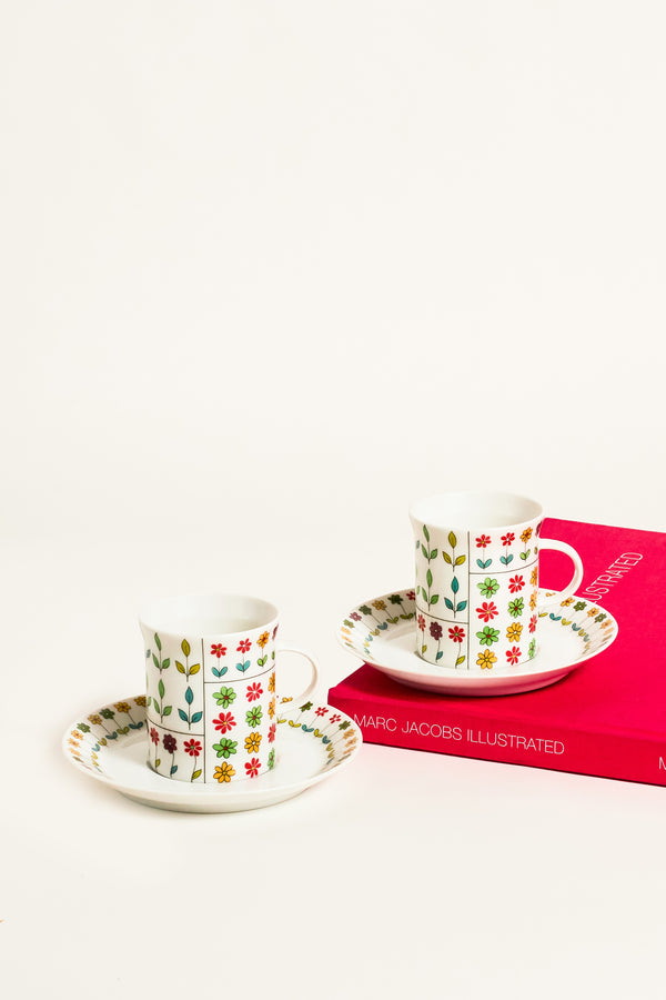 Pucci Design Floral Demitasse Set of Two